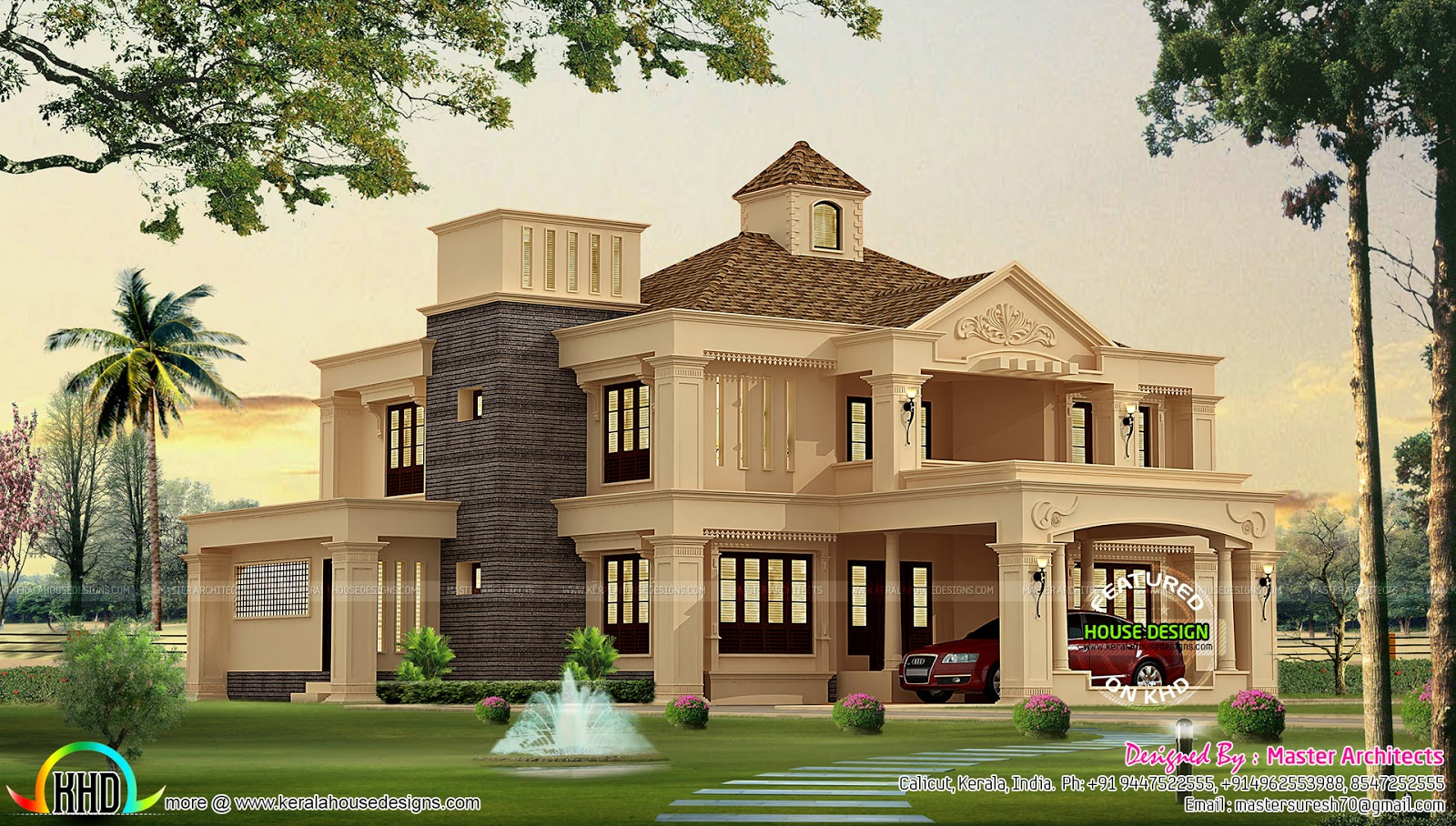 Kerala home colonial model 3100 sq ft kerala home design for Colonial house design
