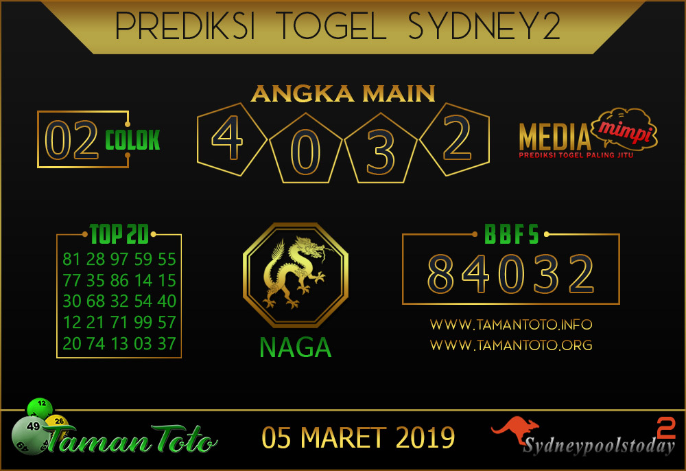 Prediksi Togel SYDNEY 2 TAMAN TOTO 05  MARET 2019