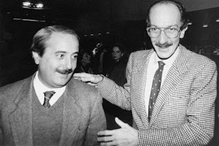 Ayala (right) with his friend and colleague Giovanni  Falcone, who was murdered by the Mafia in 1992