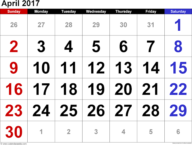 April 2017 Calendar, April Calendar 2017, April 2017 PrintabCalendar, April 2017 Calendar Printable, April 2017 Blank Calendar, April 2017 Calendar with Holidays