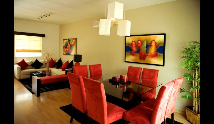 Decoracion living comedor 2015. diseño de sala donde el color rojo ...