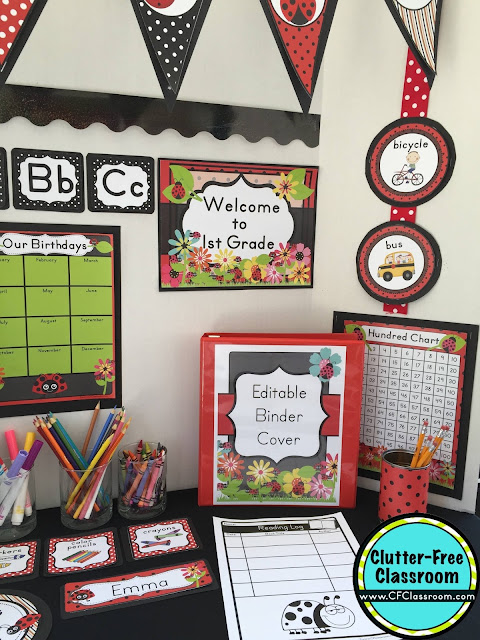 Are you planning a ladybug themed classroom or thematic unit? This blog post provides great decoration tips and ideas for the best ladybug theme yet! It has photos, ideas, supplies & printable classroom decor to will make set up easy and affordable. You can create a ladybug theme on a budget!