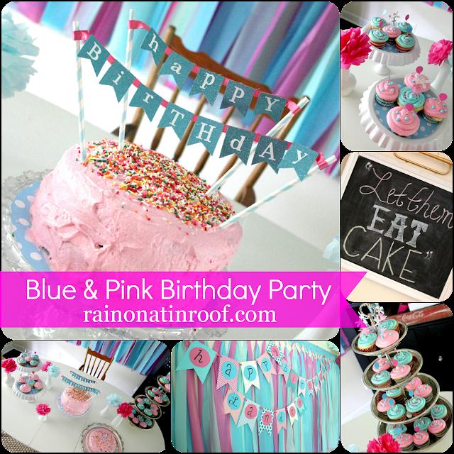 A Stylish Blue & Pink 1st Birthday Party {rainonatinroof.com} #party #birthday #DIY #craft #birthdayparty #blue #pink #1st #firstbirthday