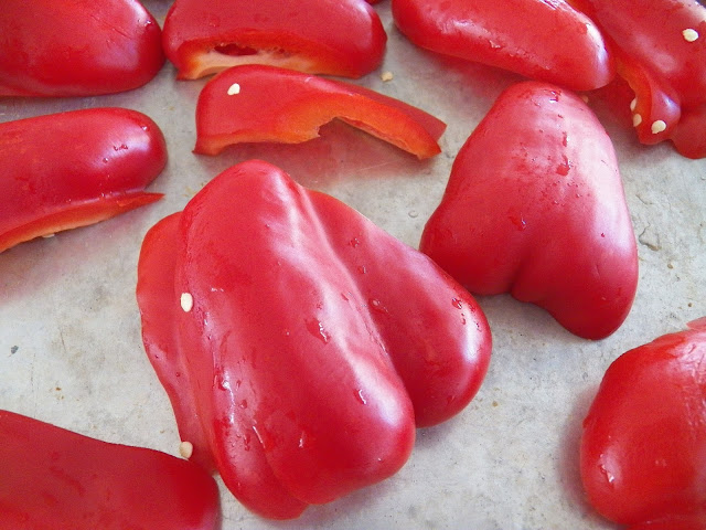 Red Peppers ready for roasting