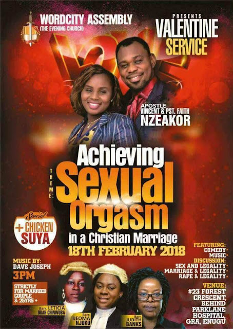 Church Set To Hold valentine Service To Teach Couples How To Achieve Sexual Orgasm. Photo