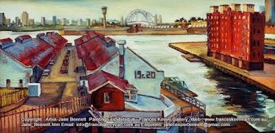 Plein air oil painting of  Jones Bay Wharf, Darling Island and REVY by industrial heritage artist Jane Bennett