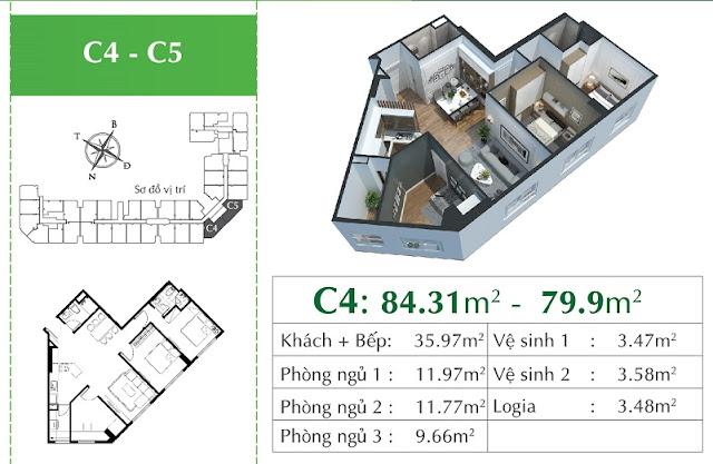 Thiết kế căn C4 - C5 Eco city Việt Hưng