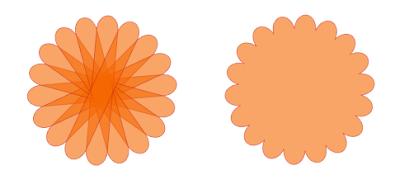 Kreis mit Wellenrand und sichtbaren Einzelformen