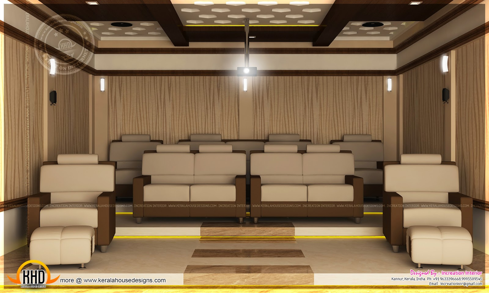 Home theater bedroom and dining interior kerala home for House plans with theater room