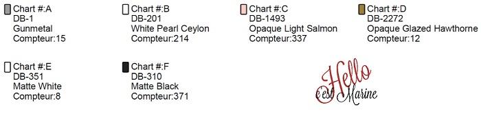 Couleurs pour le diagramme d'un grand chat noir à tisser avec des perles Miyuki delicas 11/0 par Hello c'est Marine