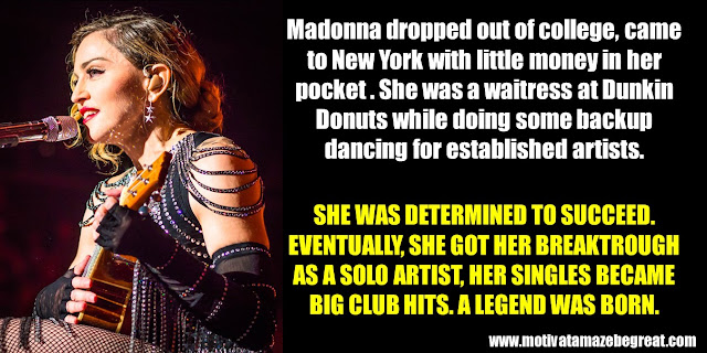 63 Successful People Who Failed: Madonna, Success story, waitress at dunkin donuts, backup artist, Breaktrough