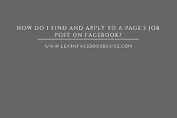 How do I find and apply to a Page's job post on Facebook?