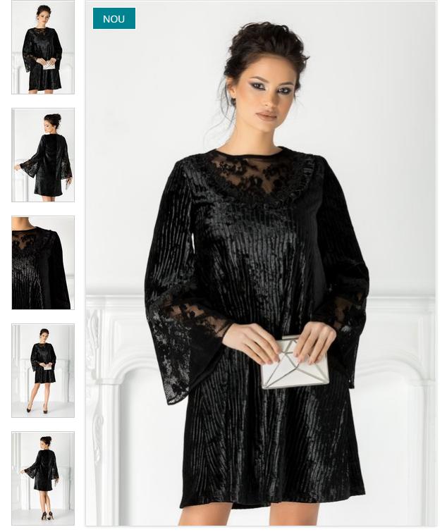 Rochie lejera eleganta de ocazii neagra din catifea cu dantela