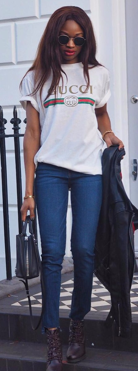 casual outfit idea | Gucci tee + jeans + leather jacket