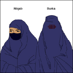 BBC graphic showing difference between the niqab and burqa.