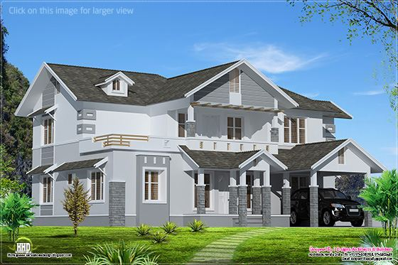 2500 sq.feet sloping roof home design