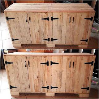 comoda construida con con pallets de madera desarmados
