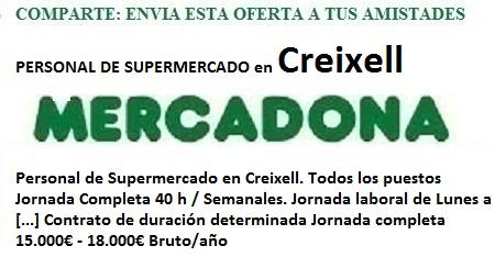 Creixell, Tarragona. Lanzadera de Empleo Virtual. Oferta Mercadona