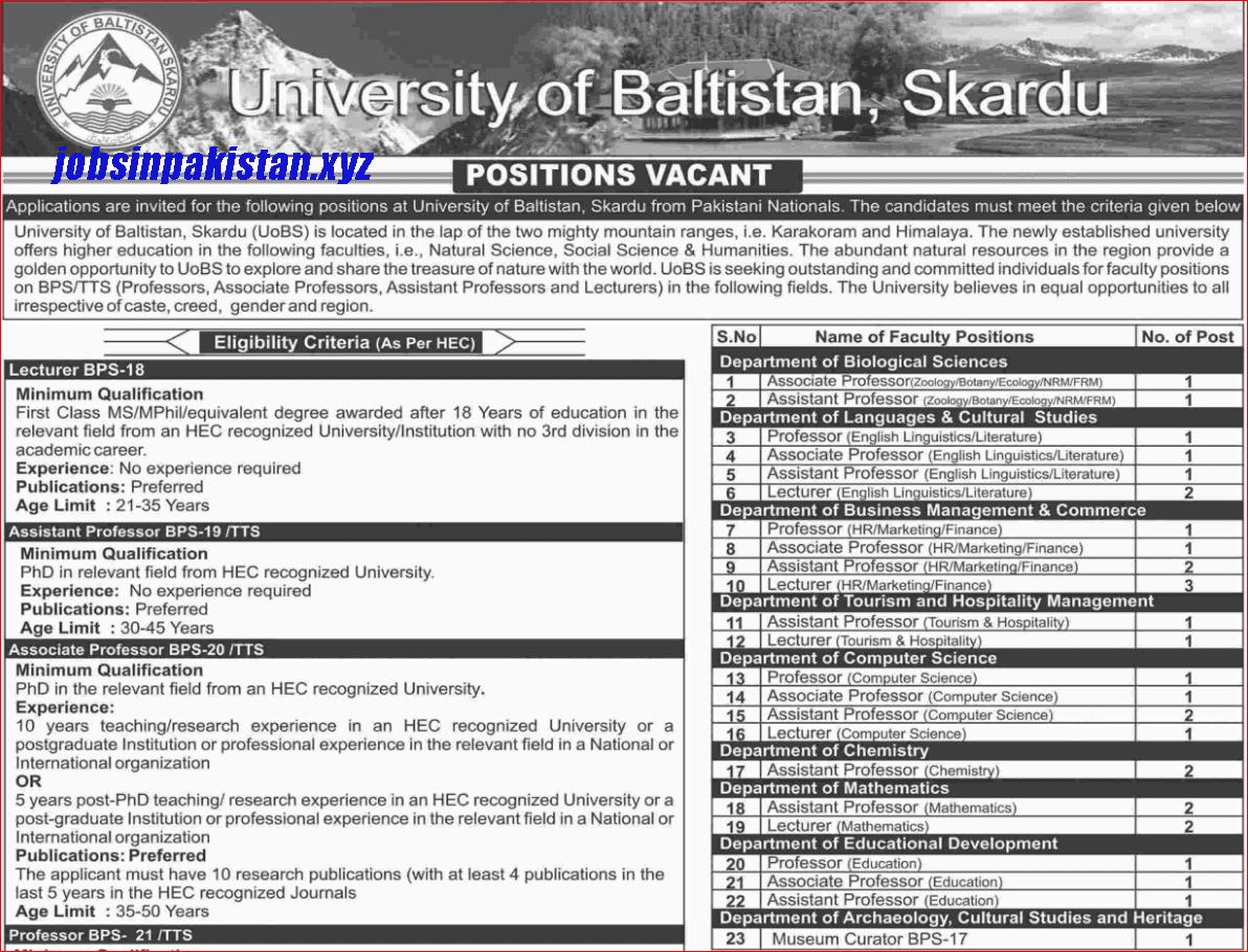 Advertisement for University of Baltistan Skardu Jobs Page No. 1/2