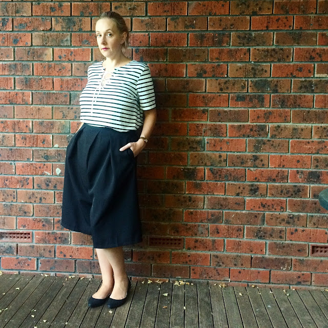 Atmos&Here striped tee, culottes | Almost Posh