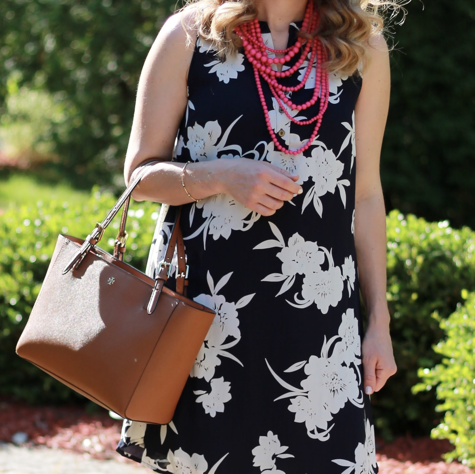 Pink Blush Navy Floral Button Front Maternity Dress, pink beaded statement necklace, Tory Burch Tote, Steve Madden wedges, second trimester summer maternity outfit