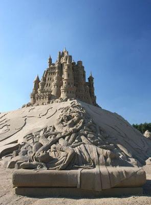 Escultura de arena de un castillo