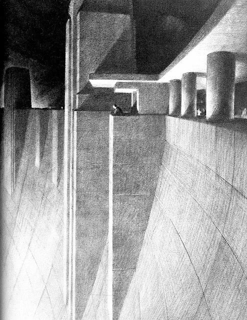 Hugh Ferriss architectural drawing of dam