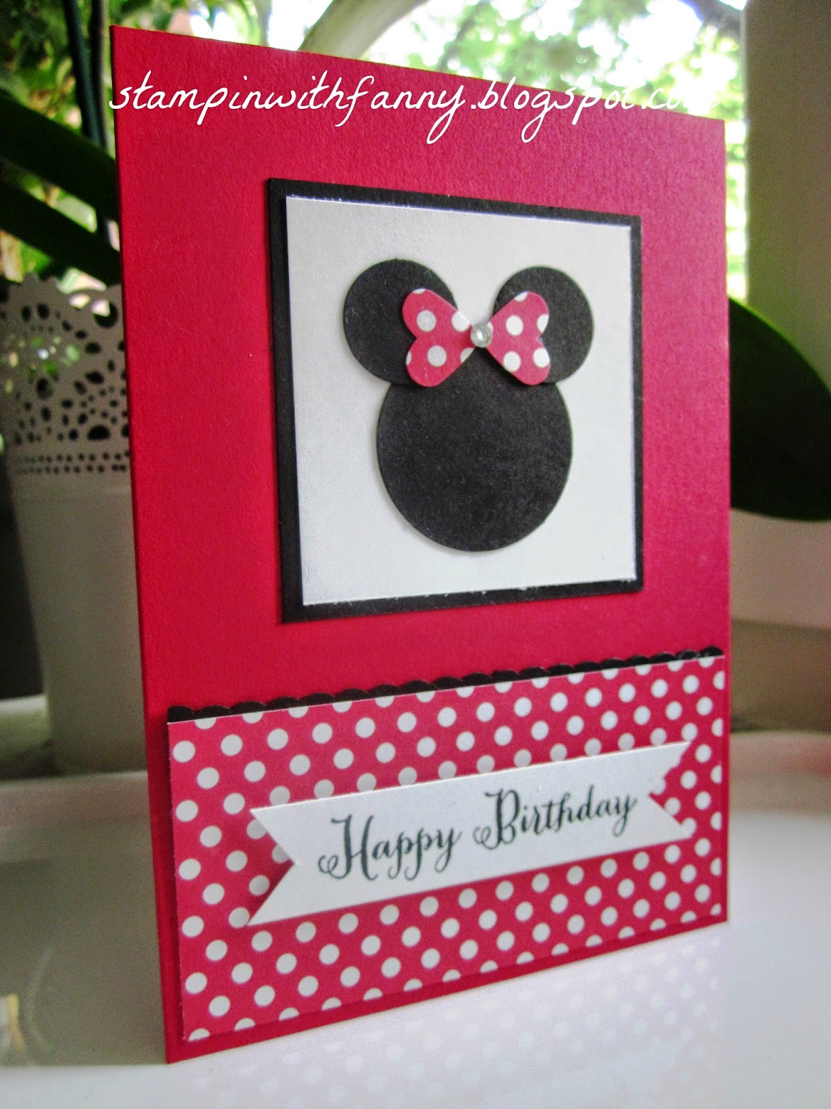 stampin with fanny happy birthday mit minnie maus. Black Bedroom Furniture Sets. Home Design Ideas