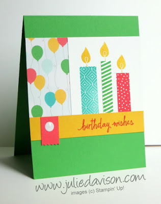Stampin' Up! Build a Birthday Candles Card with Cherry on Top DSP, Washi Label Punch #stampinup www.juliedavison.com