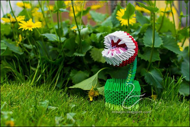 423. Kwiat Pirania z gry Mario / 3d origami Piranha plant from Super Mario