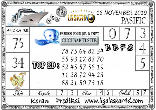 Prediksi Togel Jitu PASIFIC LASKAR4D 18 NOVEMBER 2019