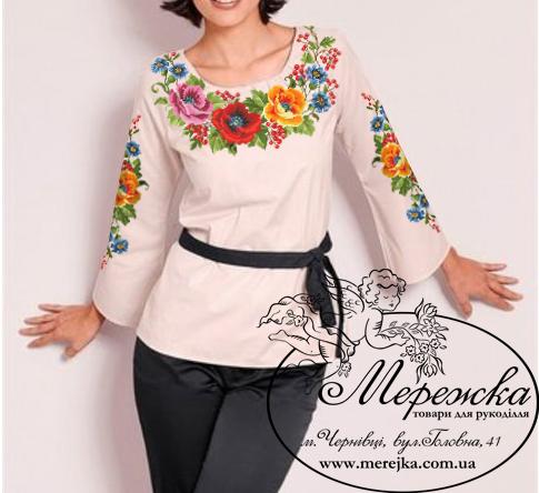 24c8489f5c8219 Кольорова символьна схема для вишивання жіночої блузи. Арт. 12-33. Формат  А3. Розроблена в палітрі ДМС. Купити схему можна у інтернет-магазині