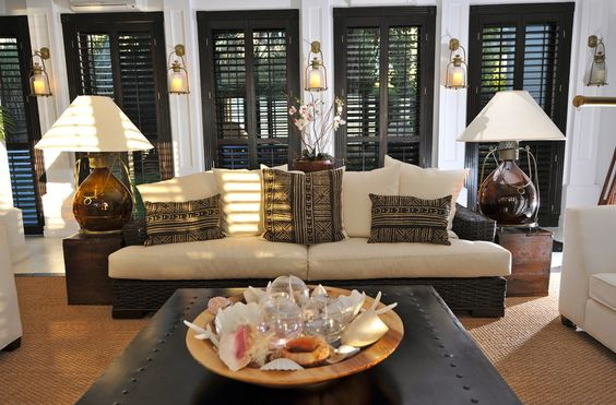 Beautiful room with black plantation shutters