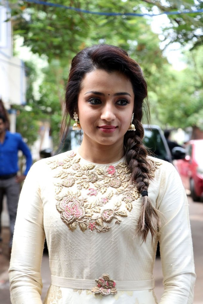 Trisha Krishnan New Tamil Film Launch Photos In White Dress