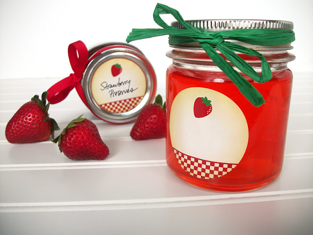 country strawberry canning jar labels