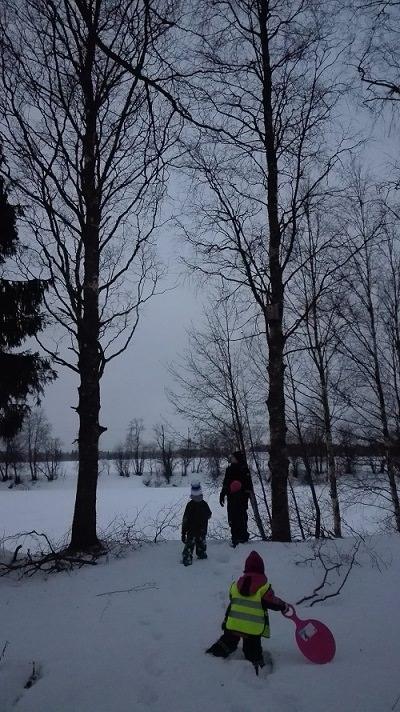 talvimaisema joki lapset