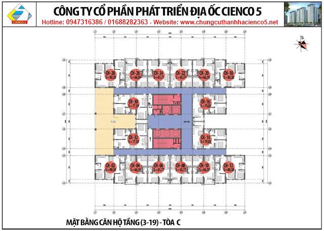 Mặt bằng tầng 3-19 chung cư B2.1 HH02C Thanh Hà Cienco 5