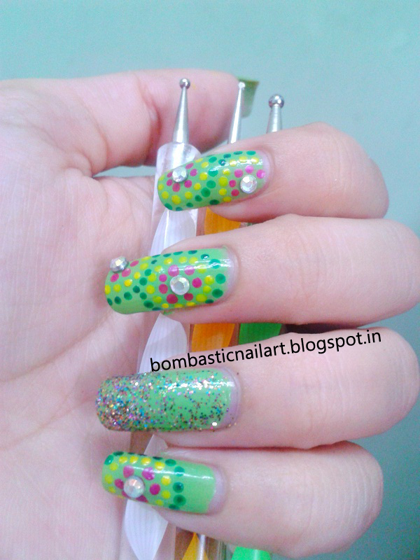 Green Dotting Nail Art