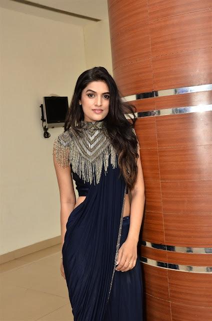 Ritu Biradar Hot Image in Blue Saree