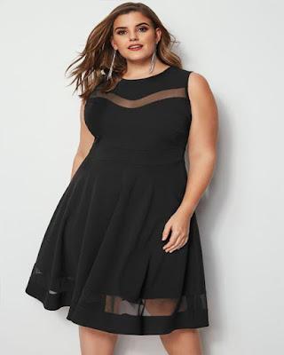 vestido negro elegante gordita