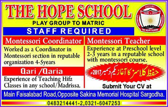 Jobs in The Hope School Sargodha November 1st 2017.