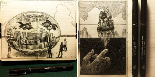 00-Nina-Johansson-Moleskine-Diary-of-Surreal-Ink-Drawings-www-designstack-co
