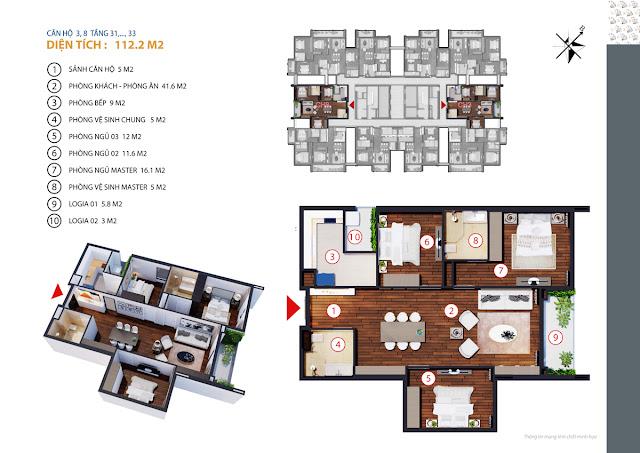 thiết kế chung cư gold tower căn 3,8