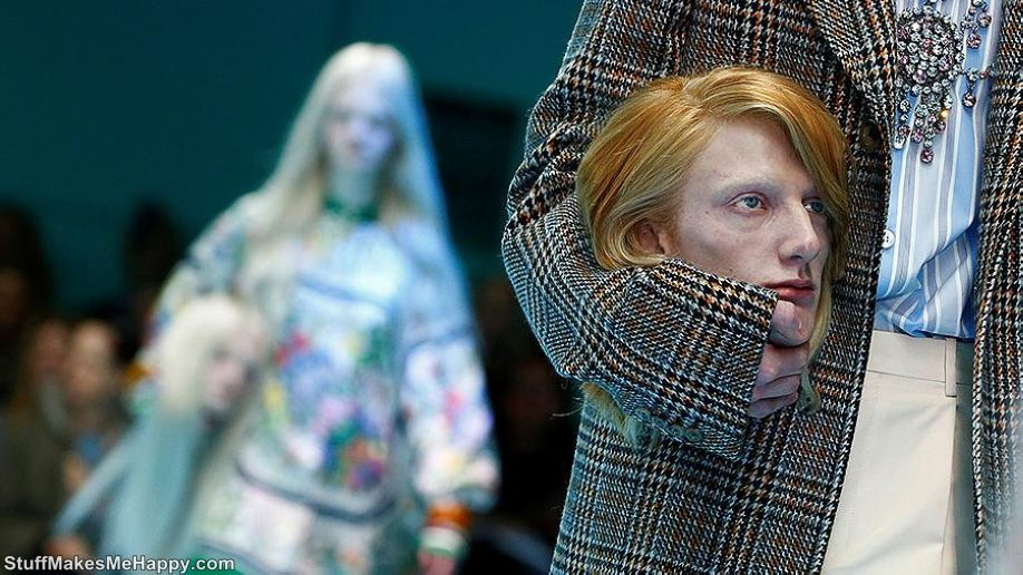 Photos From The Gucci Fashion Show 2018, Where The Models Hold Their Heads In Their Hands