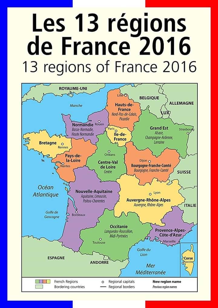 frankrike regioner karta Franska sydkusten och andra kuster.: Nya officiella namn på  frankrike regioner karta