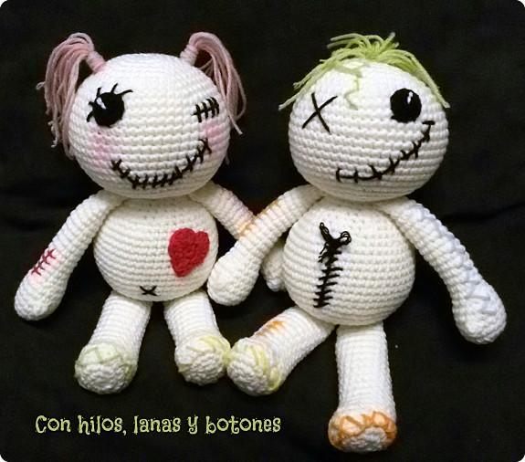 Con hilos, lanas y botones: Muñecos vudú amigurumi