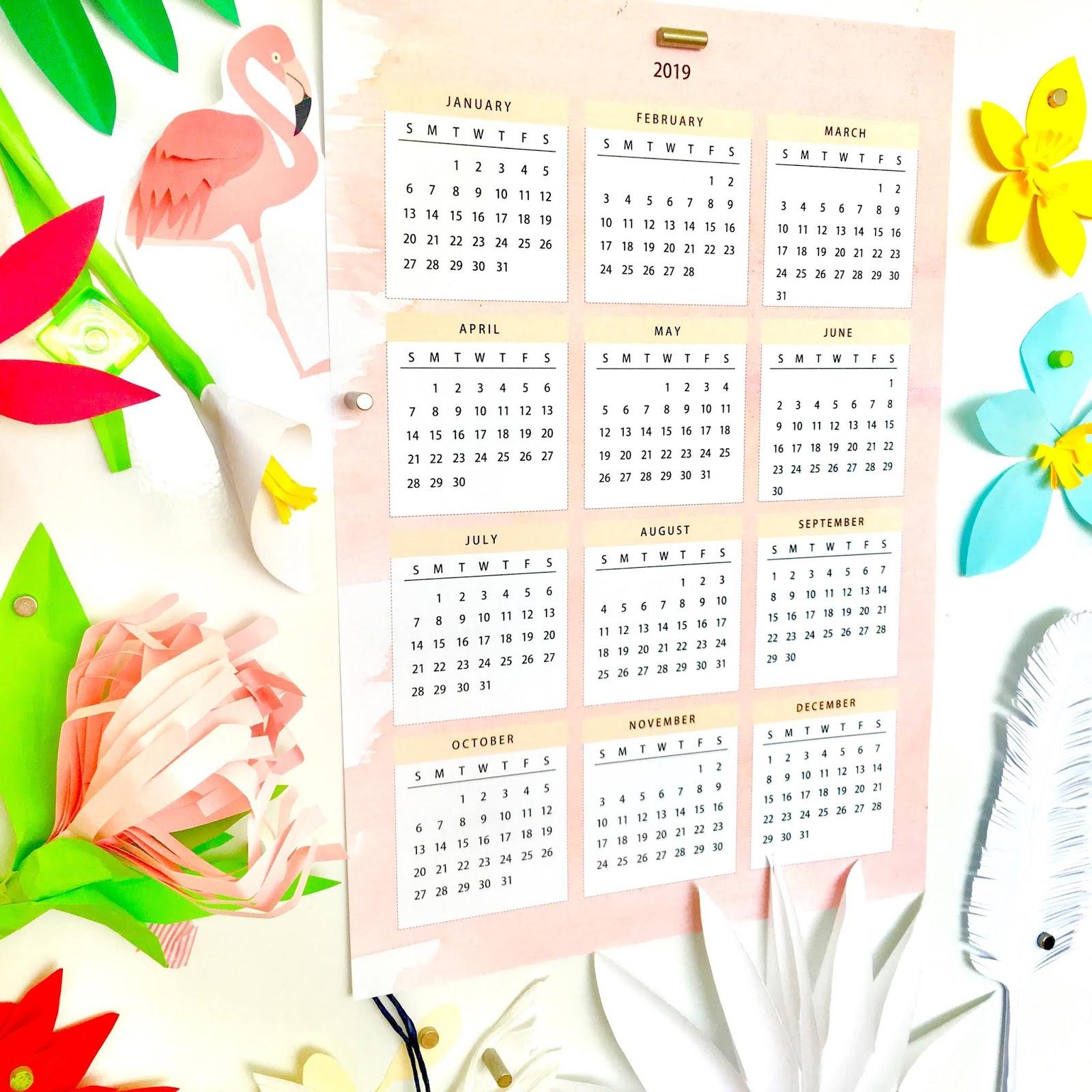 My First Free Printable 2019 Calendar : Pink Creme