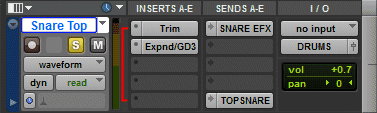 Inserts A-E of a single track in Pro Tools