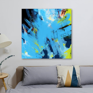 a forty-eight by forty-eight inch abstract with baby blue and small accents of lime green