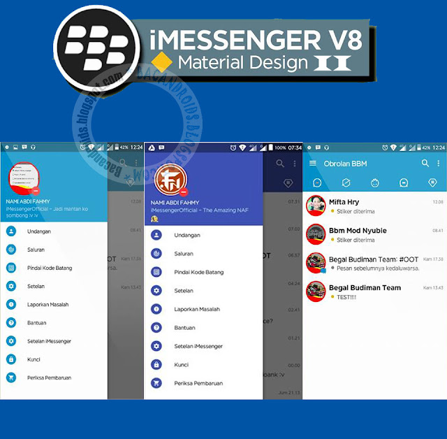 BBM Mod iMessenger v8 Material Design2 Update v3.1.0.13 Apk terbaru